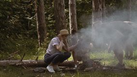 做营火的小组朋友 阵营火在夏天 影视素材