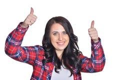 做表情的年轻深色的妇女 免版税库存图片