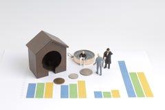 做财务计划的微型图 免版税库存图片