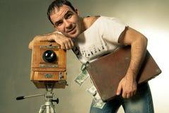 做货币射击的照相机 免版税库存照片