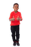 做赞许的一个逗人喜爱的非裔美国人的小男孩的画象 库存图片