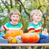 做起重器o灯笼的两个小朋友男孩为在a的万圣夜 库存图片