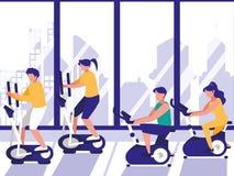 做转动在健身房的人们 向量例证
