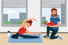 做锻炼的女孩坐地板 教练在文件夹的文字笔记 健身与大窗口的健身房内部 平面 向量例证