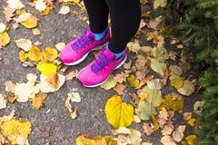 做锻炼的年轻体育妇女在秋天训练期间外面 图库摄影