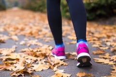 做锻炼的年轻体育妇女在秋天训练期间外面 免版税库存照片