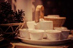 做集合的茶 免版税库存照片