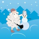 做雪人的羊羔 免版税库存图片