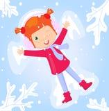 做雪天使的女孩在冬天公园 向量例证