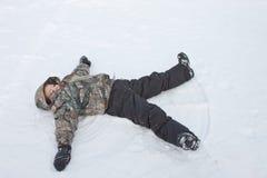 做雪的天使 库存图片