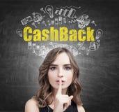 做静寂标志, cashback的波浪发妇女 免版税库存图片