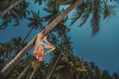 做颠倒的瑜伽的人 免版税库存照片