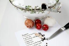 做食谱汤的成份 免版税库存图片