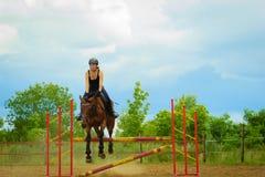 做马的骑师女孩跳跃通过障碍 免版税库存照片