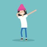 做轻拍的幼小女性角色跳舞 库存例证