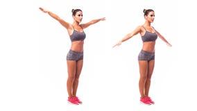 做锻炼胳膊圈子的少妇 免版税库存图片