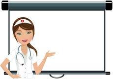 做介绍的护士 免版税库存图片