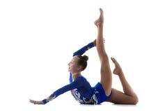 做acro锻炼的灵活的女孩 库存图片