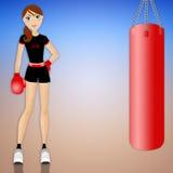 做boxe的妇女 免版税库存图片