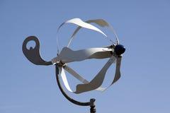 做electicity的小风轮机在风外面 库存照片