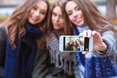 做selfie照片的微笑的女朋友 图库摄影