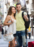 做selfie的夫妇在街道 库存图片