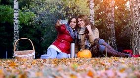 做selfie的女孩在一顿野餐在坐下落的叶子的秋天公园在南瓜附近在万圣夜时间 3840x2160 影视素材