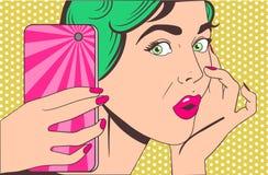 做selfie的妇女 库存照片