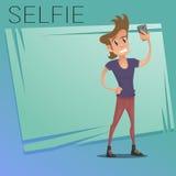 做selfie的愉快的年轻逗人喜爱的人字符 库存例证