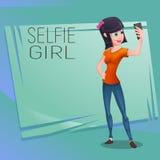 做selfie的愉快的年轻逗人喜爱的女孩字符 向量例证