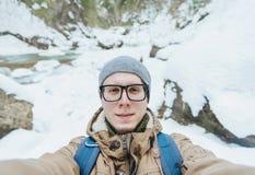 做selfie的旅客人 库存照片