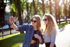 做selfie的朋友 做selfie的两个美丽的少妇 库存图片