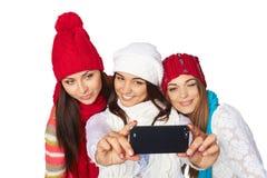 做selfie的朋友 免版税库存图片