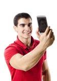 做selfie画象的被隔绝的年轻人 库存图片