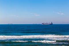 停住的四艘船海洋 库存照片
