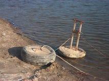 停住的小船浮体 库存图片