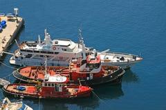 停住的小船港口 图库摄影