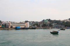 停住的小船chau cheung钓鱼海港洪房子kong 图库摄影