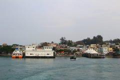 停住的小船chau cheung钓鱼海港洪房子kong 免版税库存图片