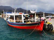 停住的渔船,地中海口岸 图库摄影