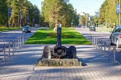 停住纪念品在维萨吉纳斯立陶宛的市中心 免版税库存照片