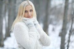 停放冬天妇女 免版税库存图片