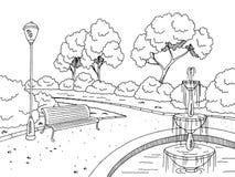 停放喷泉图表黑白色风景剪影例证 库存图片