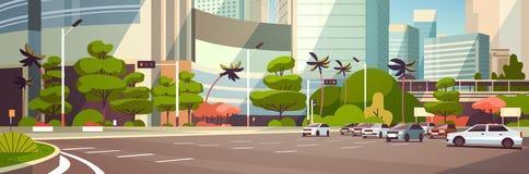 停放在摩天大楼大厦现代都市风景背景水平的横幅舱内甲板的城市汽车 皇族释放例证