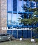 停放在瑞银卡片AG中心办公室 库存照片