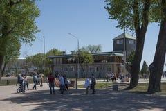 停放在顿河的银行,修造为2018年国际足球联合会Wor 库存照片