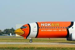 停放在廊曼国际机场的民用飞机 免版税库存图片