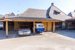 停放在Drvengrad,塞尔维亚 免版税图库摄影