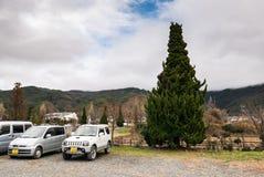 停放在kawagichiko湖附近,山梨,日本 免版税库存照片