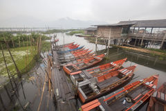 停放在Rawa的小船写作湖,印度尼西亚 免版税库存图片